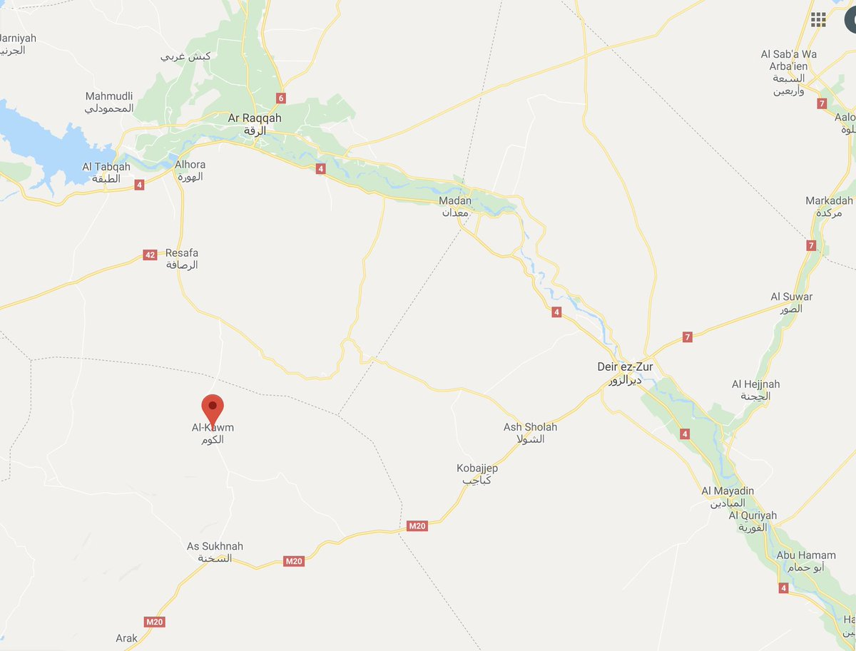 Reports tonight suggest #ISIS has captured the town of al-Kawm (north of al-Sukhna, in #Syria's #Badiya) from the #Assad regime.  A number of #ISIS operations have been reported around Kobajeb, al-Shula & NE of al-Sukhna in recent weeks.