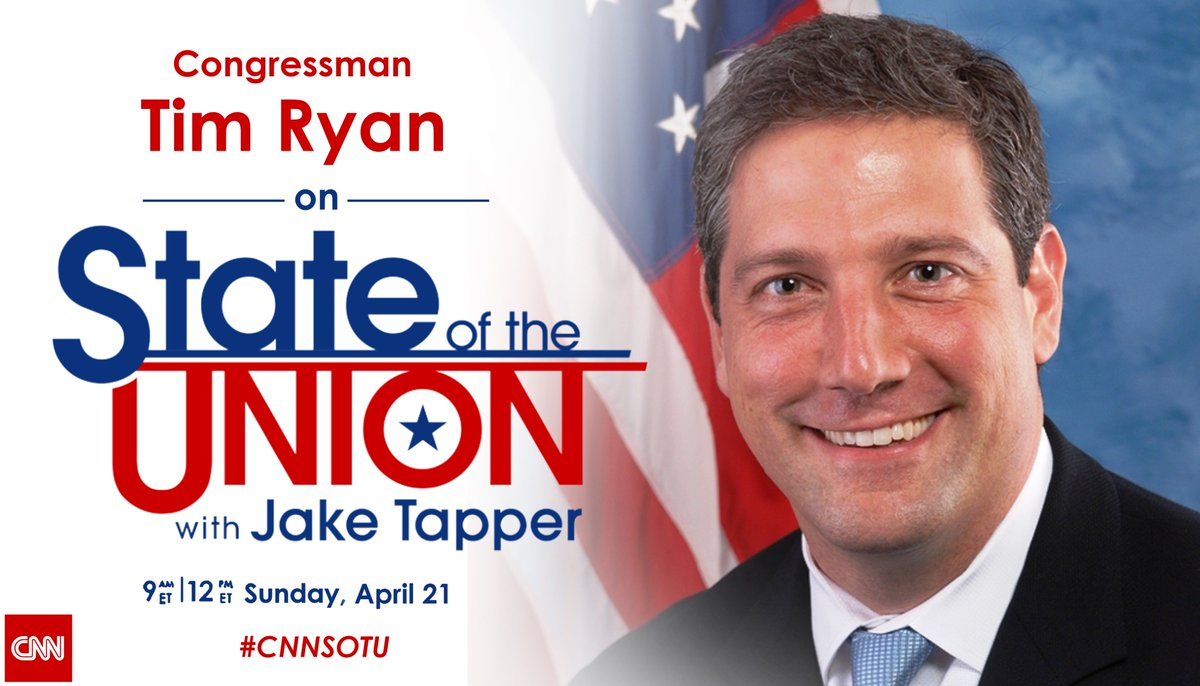 This Sunday @TimRyan  joins @jaketapper on #CNNSOTU. Tune in!