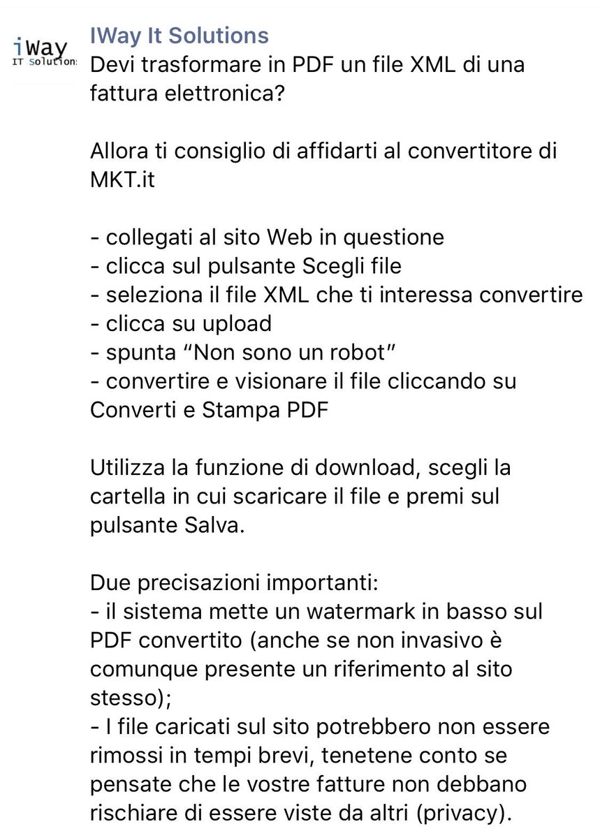 RT @IwayIt: #xml #pdf #fatturaelettronica #fe #trasformaxml #howto #itsolutions #coverter https://t.co/4mmx8fKkjr