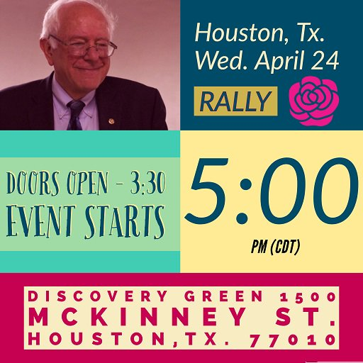 Wednesday, April 24, 5 pm, Houston, TX, #BernieSanders #Bernie2020 #BernieInTX #BernieInHouston #FeelTheBern #HearTheBern<br>http://pic.twitter.com/pYIWLfq2In
