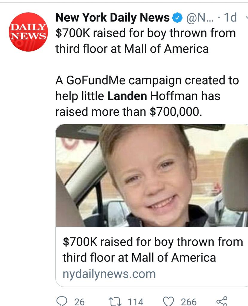 Little boy thrown at mall of america