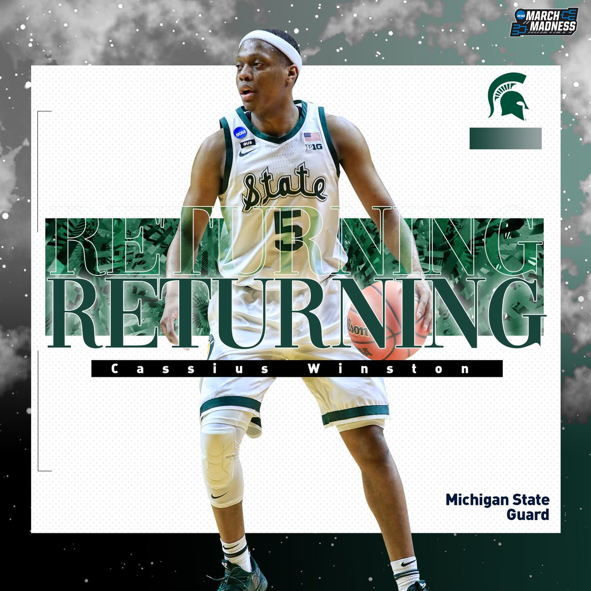 Welcome back, Cassius Winston!  The Big Ten Player of the Year is returning for his senior year! <br>http://pic.twitter.com/WBAYT5Pd2k