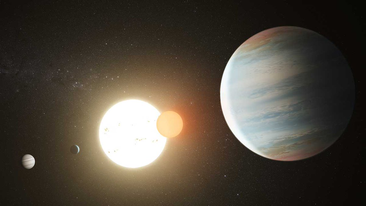 🎶 A whole new world! 🎶 Astronomers using data from our planet-hunting @NASAKepler space telescope have discovered a third planet orbiting two stars located approximately 3,340 light-years away! Meet the new planet, dubbed Kepler-47d: go.nasa.gov/2ZpGL78