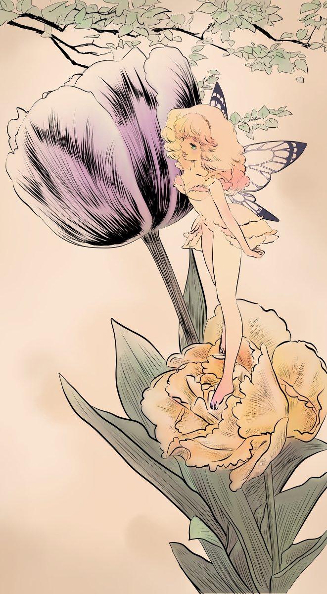 妖精とチューリップ(ぬりえつき) #妖精 #fairy #ファンタジー #fantasy https://www.pixiv.net/member_illust.php?mode=medium&illust_id=74284776…