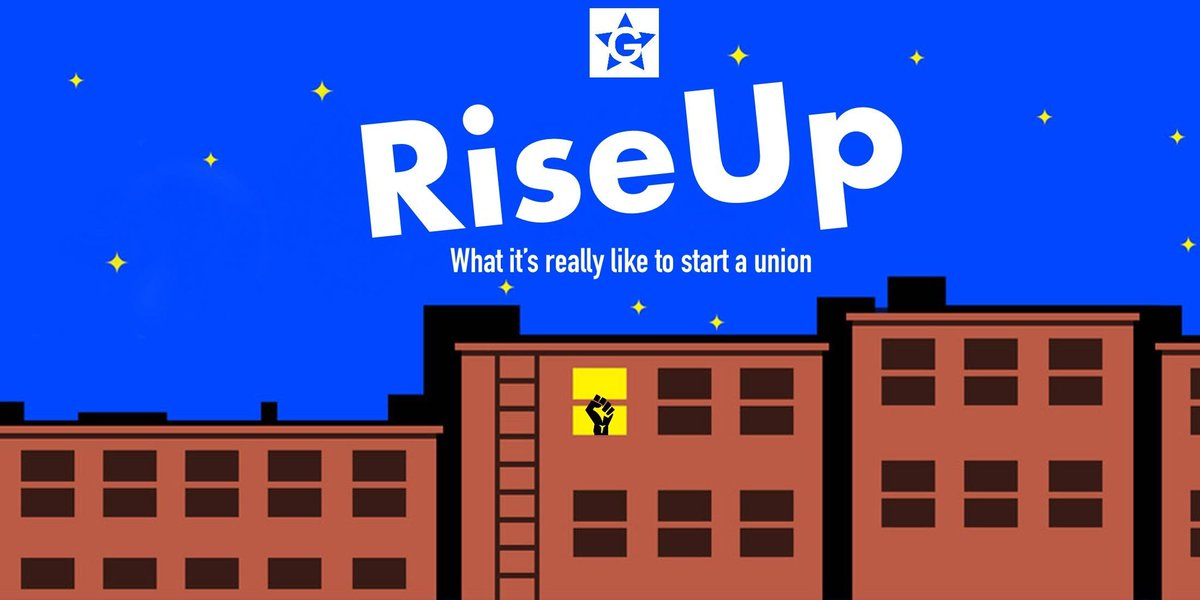 Today on RiseUp... we reaffirmed our support for unionizing by voting Union Yes! We now have a recognized union   Thank you so much to all of our listeners, #1u and @WGAEast siblings who supported us during our campaign – solidarity matters. #GiveMeAStrongGimlet<br>http://pic.twitter.com/dGDxDxOQkQ