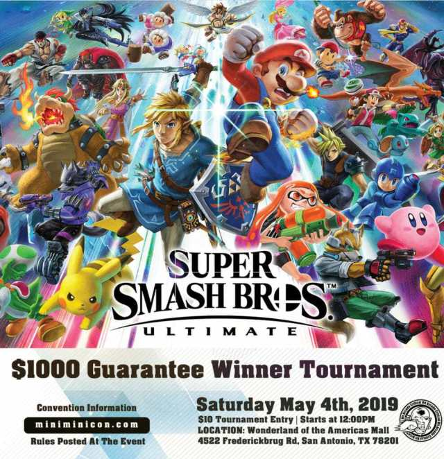 We are still putting on the $1000 Guarantee Winner Smash Bros. Ultimate Tournament at #miniminicon. To help with the high number of anticipated signups were starting we starting that at 10AM of #miniminicon2019 to ensure that it starts at 12PM.  The rules will be posted there.