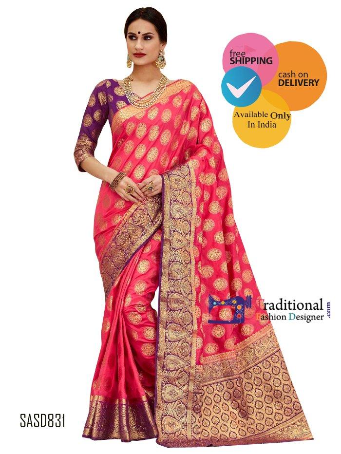 Pink Color Banarsi Silk Saree. #Bollywood #Actress #Saree #Partywear #Traditionalwear #Fashion #Designewear #Wedding #BridalWear #Stylish #Indianlook