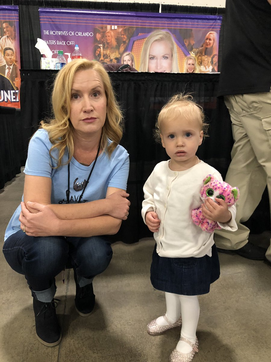 Thx to everyone who came out to say hello today at @fanxsaltlake ...especially this lil' cutie. Angela vs. Angela 😼