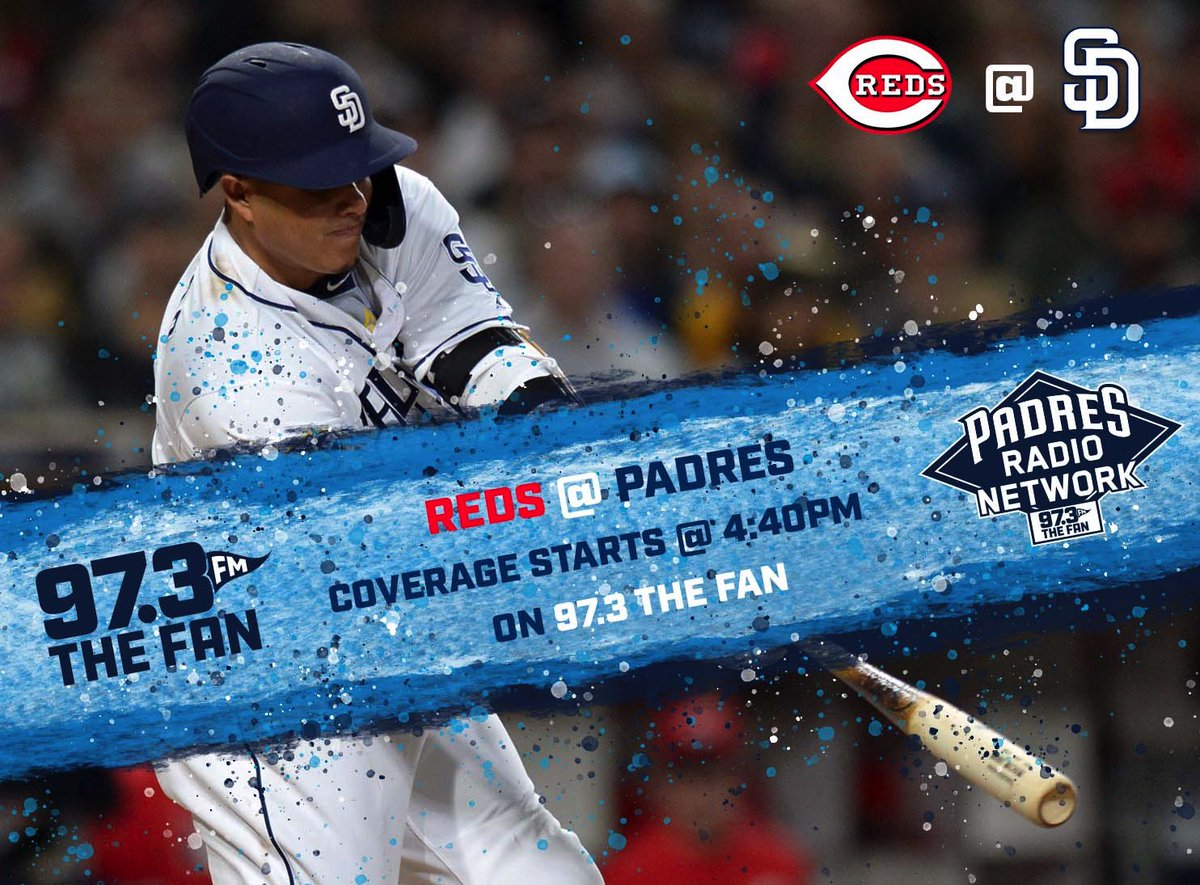 Tune in tonight as the @Padres host the @Reds from @PetcoPark!   Pregame coverage with @b_surp starts at 4:40pm.   @TedLeitner & @jesseagler will have the call with First Pitch at 5:40pm!   All here on @973TheFanSD @PadresRadio! #FriarFaithful