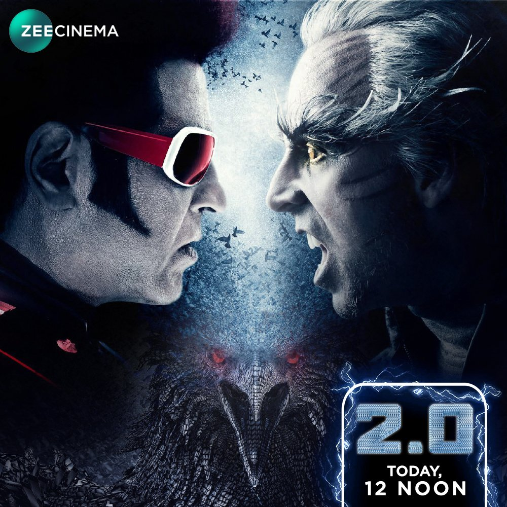 It's time for the ultimate faceoff of the millennium between Chitti 2.0 and the evil force Pakshi Raja ! Watch the action-packed battle in the World TV Premiere of 2.0, today at 12 Noon only on @zeecinema. @rajinikanth @akshaykumar  #2Point0On21Apr #2Point0OnZeeCinema