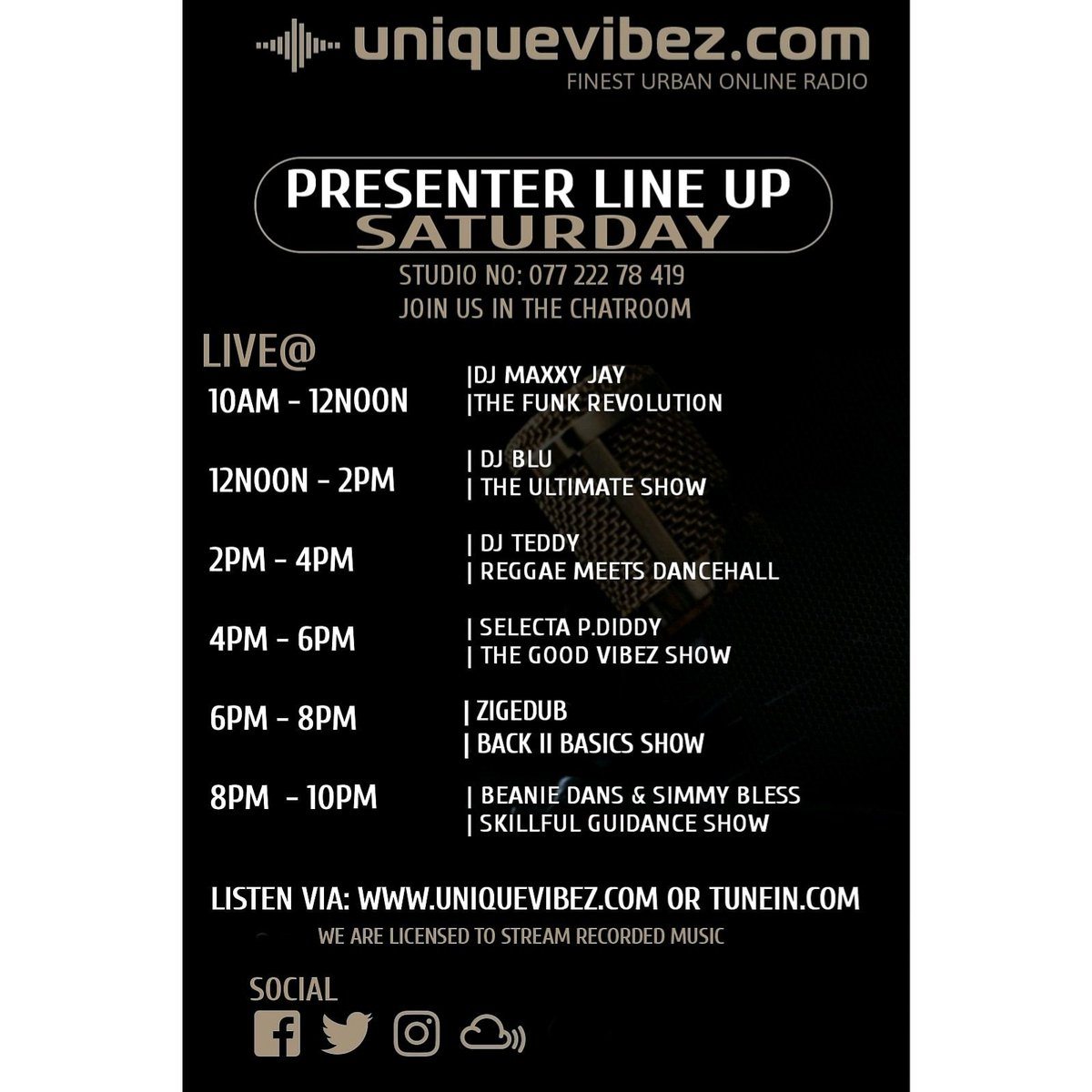 #saturday from 10am #bst on http://uniquevibez.com #funk #soul #neosoul #afrobeats #rnb #reggae #reggaerevival #dancehall #bashment #reggaevocals #hiphop #oldskool #nuskool and more  #internetradio  #vibes  #onlineradio  #entertainnent  #djs  #radiopresenter