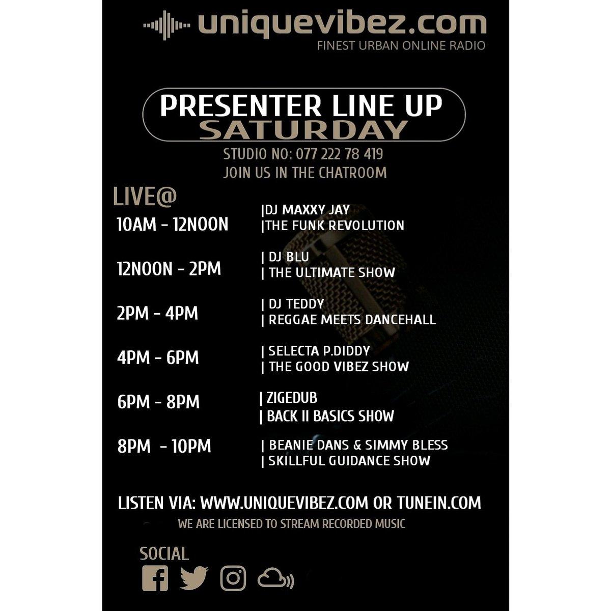 #saturday from 10am #bst on http://uniquevibez.com #funk #soul #neosoul #afrobeats #rnb #reggae #reggaerevival #dancehall #bashment #reggaevocals #hiphop #oldskool #nuskool and more  #internetradio  #vibes  #onlineradio  #entertainnent  #djs  #radiopresenters  #radio