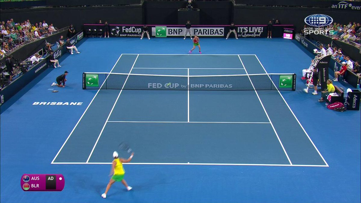 Ash Barty saves 3 break points in the opening game.  Watch Australia take on Belarus in the #FedCup LIVE on @9Gem  #9WWOS #Tennis #AUSBLR #BartyParty