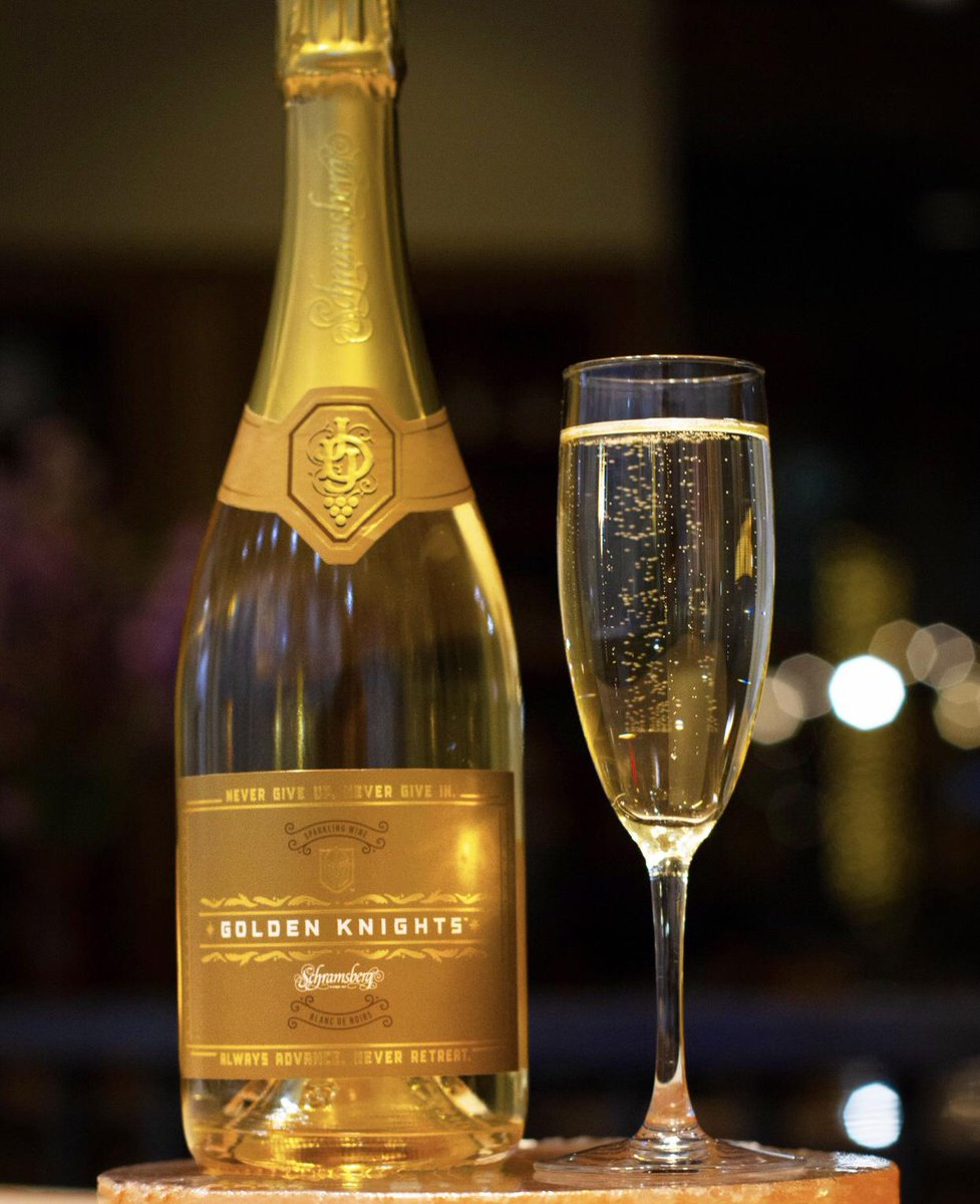 #KnightUp with us with our special @vegasgoldenknights champagne at our #Vegas location in celebration of our home team progressing in the #NHL playoffs! 🥂🍾 At #EchoAndRig everything is golden including the champagne!