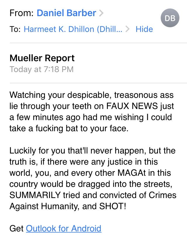 Enjoyed being on Fox tonight, but apparently triggered this guy watching, who has a history of making violent threats by email hotnuke@hotmail.com. Anyone know anything about this ... individual?
