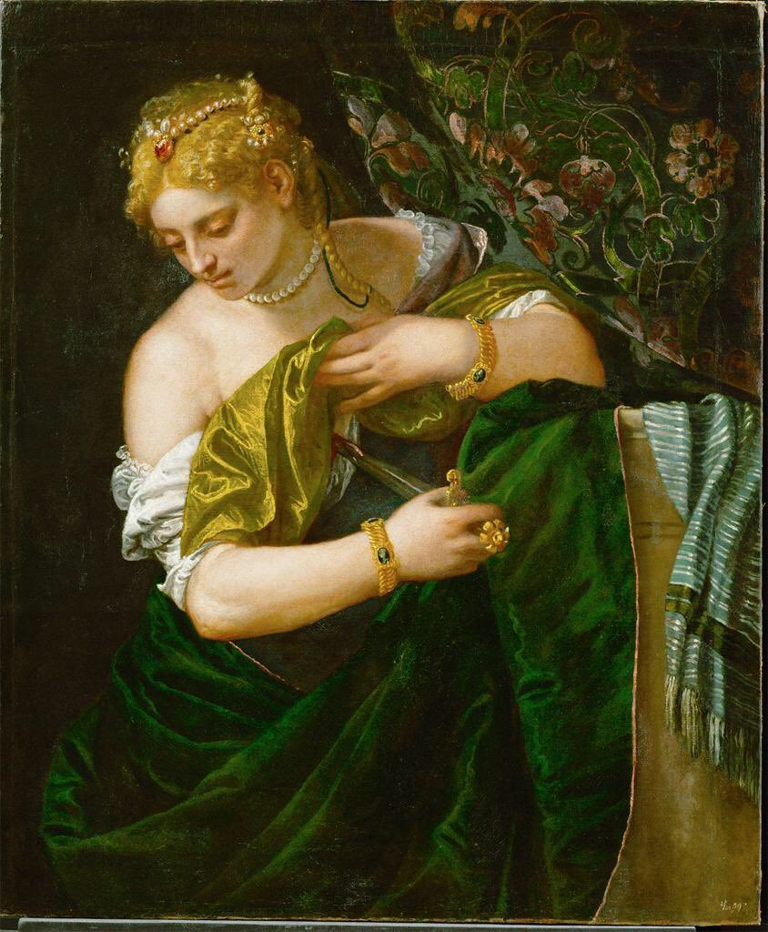 Lucretia, pushing back the curtain for her final suicidal public appearance. Unsettling balance of beauty &amp; tragedy, 1580, by Paolo Veronese. It's been his day today. <br>http://pic.twitter.com/Mj8zAWHhin