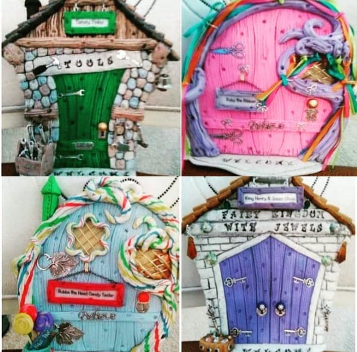 Enter the lovely doors of Fairy Kingdom. These doors are hand sculpted out of polymer clay.  Place your order here: http://tommytinkerstore.com/fairy-doors/ .  #tommytinker #fairydoors #etsyshop #handcrafted #fairies #handmade #fairies #fairyhouse #fairygarden #etsy #fairydoor #fairy #fairytale