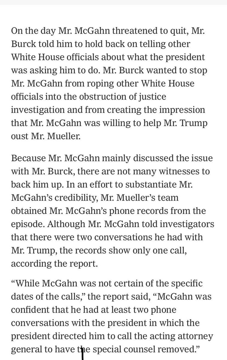 When @nytmike and I reported on Trump telling McGahn to fire Mueller, a number of officials had previously said Trump wasn't thinking about doing so. Per our information, they likely didn't know. https://www.nytimes.com/2019/04/19/us/politics/giuliani-mcgahn-trump-mueller.html …