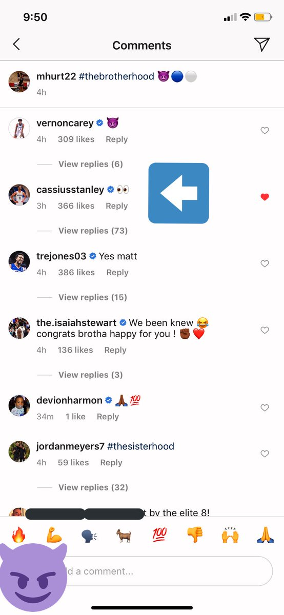 Cassius Stanley's comment on Matthew Hurt's first post on Instagram as a member of #TheBrotherhood is quite promising. 😈🔵🤞  His announcement will be on Monday 4/22. 🔥  #GetCassiusToDuke #Duke #SI6HTS