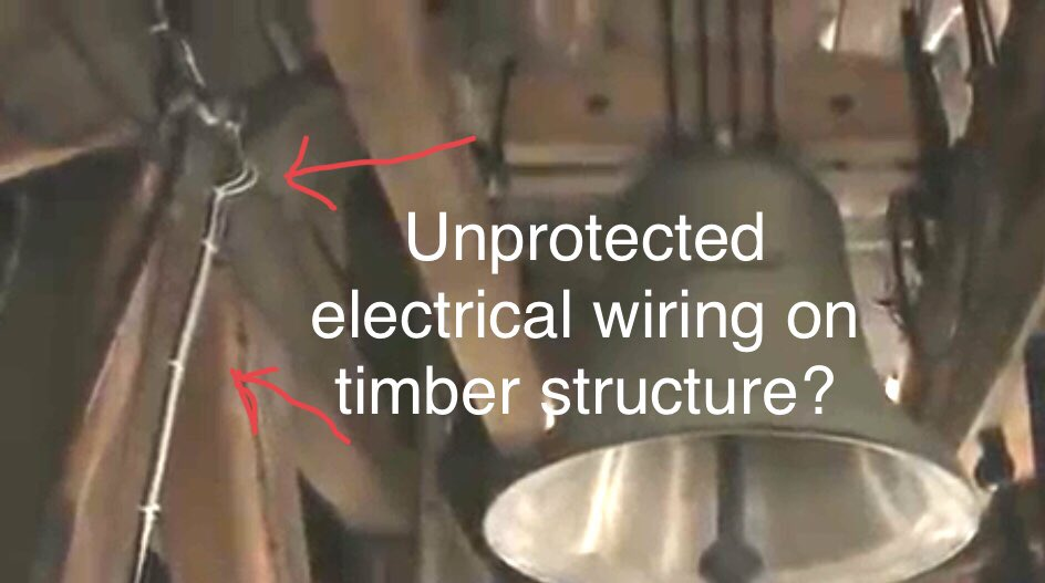 Unprotected electrical wiring in Bell towers is evident of what was in practice against France's NFC15-100 @EmmanuelMacron @France24_en @NFPA @Assessment_ICC @IntlCodeCouncil @cnni #NotreDameCathedralFire #NotreDamme #NotreDameCathedral