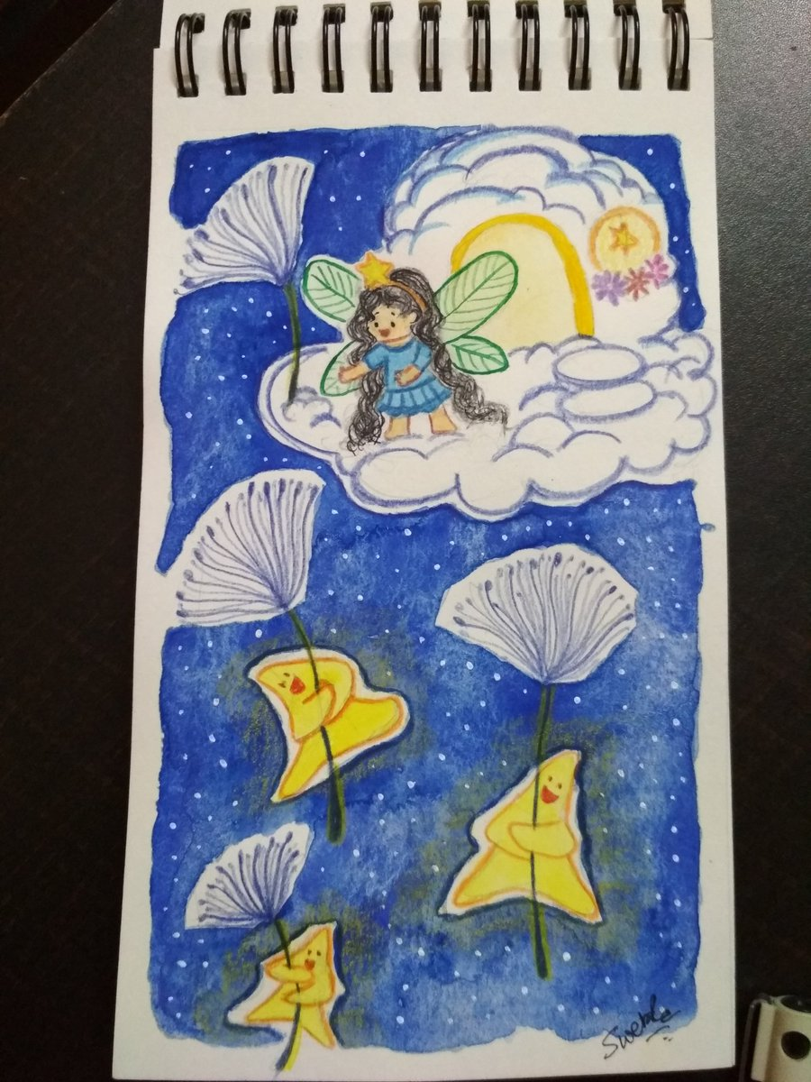 A falling star doesn't fall off from sky, they carry your wish to #Wish #fairy floating through sky #Colour_Collective @Clr_Collective #LemonYellow