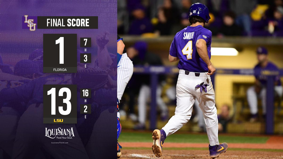 TIGERS WIN! TIGERS WIN! LSU evens the series with Florida with a 13-1 win!  The Tigers and Gators return for the rubber match Saturday at 2 p.m. CT! #GeauxTigers🐯