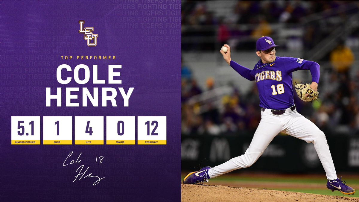 The freshman, @Cole__Henry12 recorded a season-high 12 K's in the win tonight! #GeauxTigers 🐯  📄: http://lsul.su/2Gx1IWc