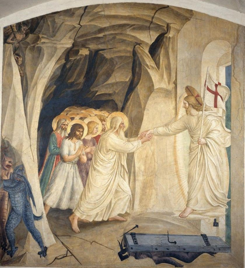 Today is Holy Saturday, the day that Jesus descended to the dead and freed all the righteous who died before Him so that they could enter into heaven.  The Harrowing of Hell by Fra Angelico.