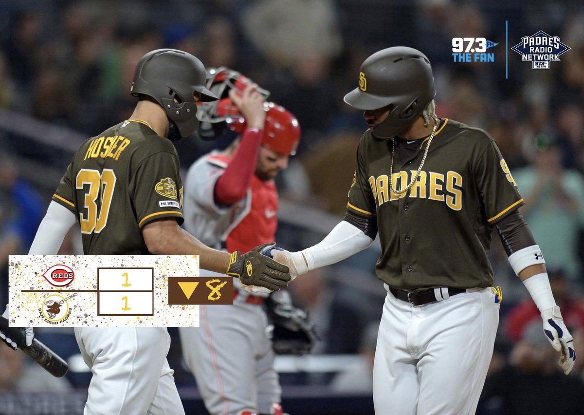 #Padres and #Reds still knotted up as we head to the bottom of the 8th.   Pirela Tatis Hosmer due up for the #FriarFaithful   Tune in to @973TheFanSD now!