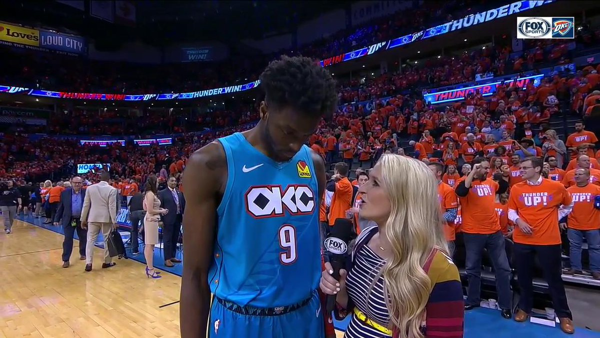 PG called Jerami Grant @okcthunder's X Factor...  Boy, was he right!  #ThunderUp | #NBAPlayoffs | @LesleyMcCaslin