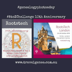 Image for the Tweet beginning: #AtoZ Challenge RootsTech - I'm
