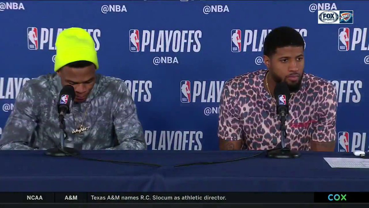Russell Westbrook and Paul George comment on @okcthunder's Game 3 win over Portland at home.  #ThunderUp | #NBAPlayoffs