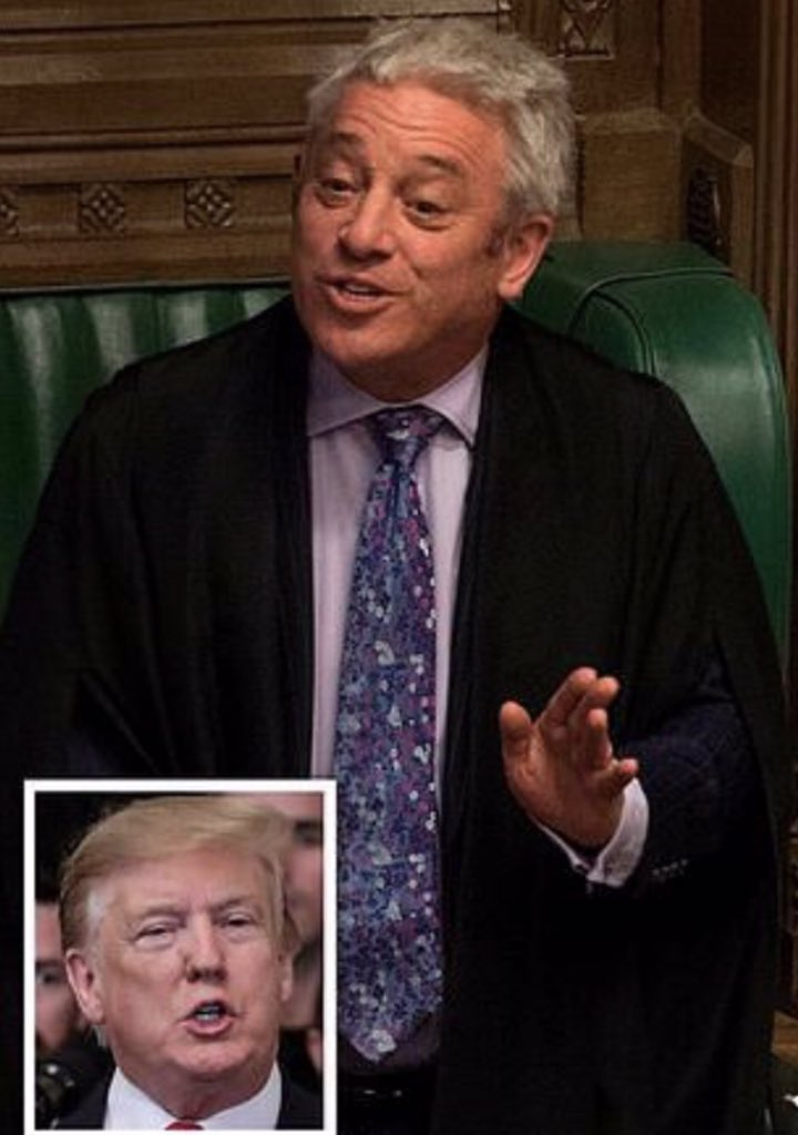 #JohnBercow is refusing to issue an invitation to @realDonaldTrump to address the UK Parliament this summer.  Bercow states that it's an 'earned honour', not a right. An honour #Trump doesn't deserve, citing 'opposition to racism & sexism'.   RT if you support Bercow's decision.