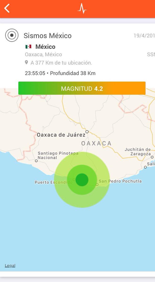 SSN calcula magnitud en 4.2 con epicentro a 22 km al oriente de Puerto Escondido, Oaxaca.   Detectado por @RedSkyAlert con intensidad leve.