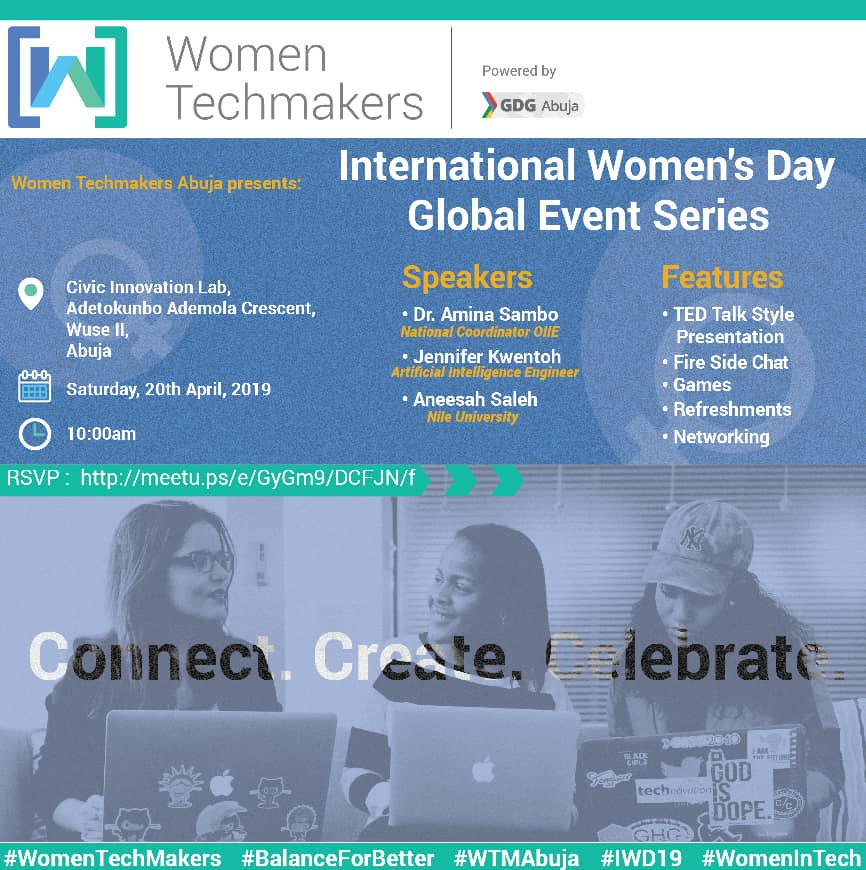 Don't forget, Women in Techmakers is happening today💃💃💃.  #WomenTechmakers  #BalanceforBetter  #WTMAbuja #IWD2019  Oh I didn't register hope i'll be allowed to attend  CC @reedahkh