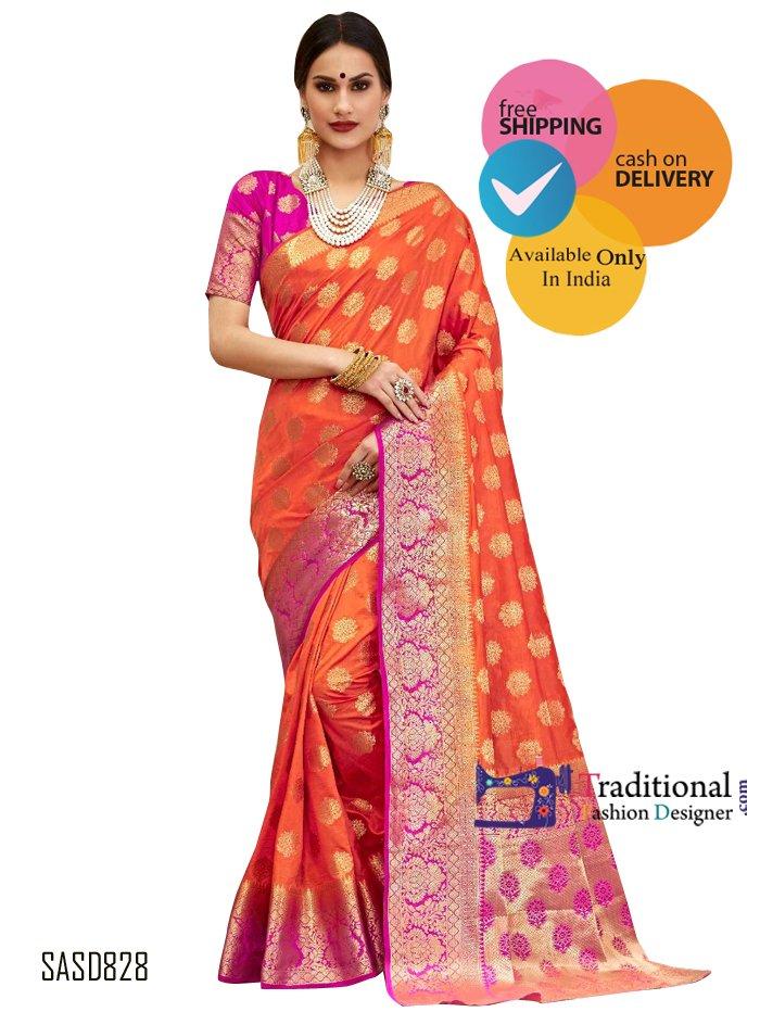 Orange Color Banarsi Silk Indian Saree. #Bollywood #Actress #Saree #Partywear #Traditionalwear #Fashion #Designewear #Wedding #BridalWear #Stylish #Indianlook