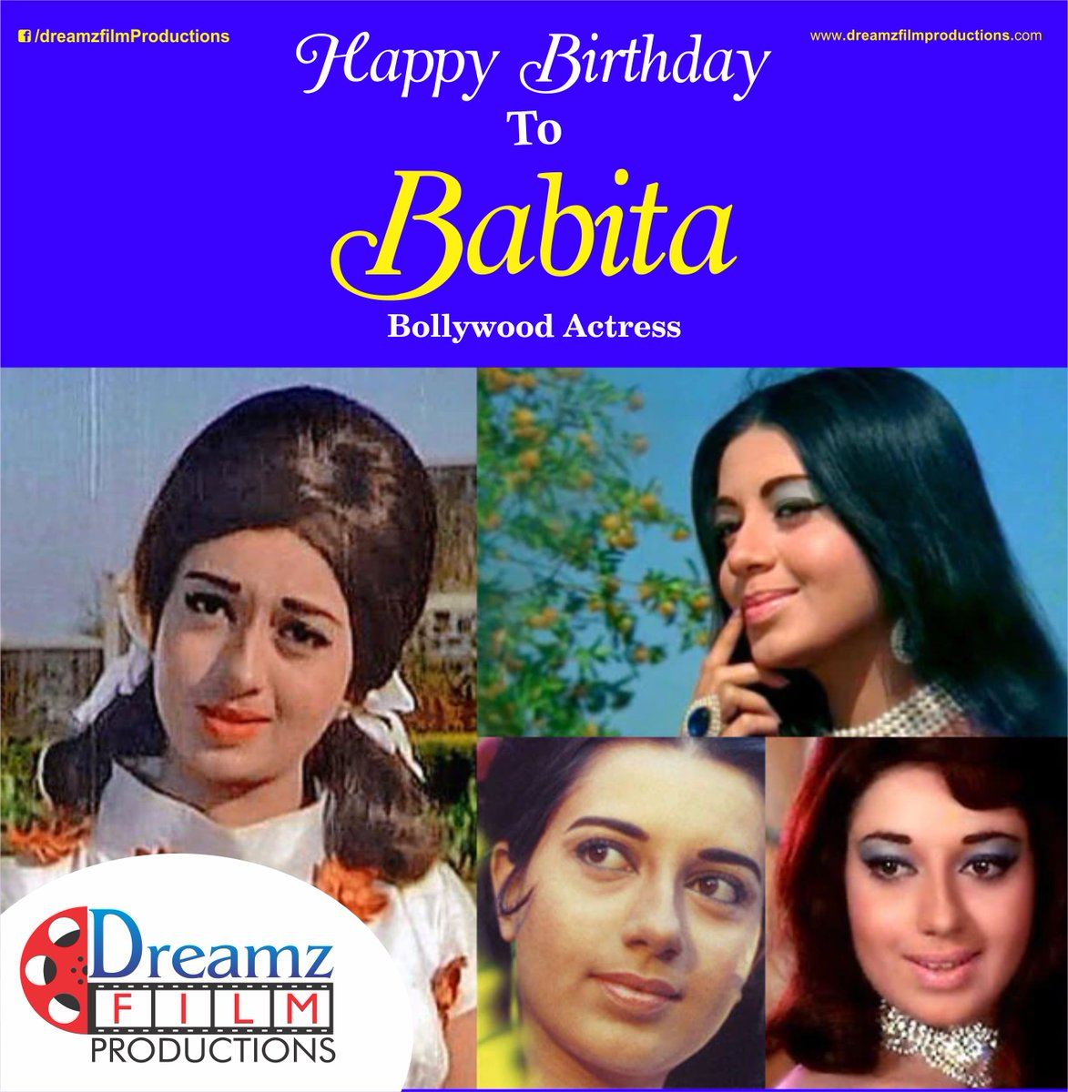 @DreamzFilm wishes you a very Happy Birthday to #BabitaKapoor (Indian #Actress) #DreamzFilm #HappyBirthdayBabitaKapoor  #BollywoodFilms