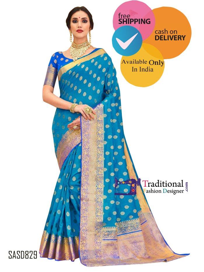 Blue Color Silk Beautiful Saree. #Bollywood #Actress #Saree #Partywear #Traditionalwear #Fashion #Designewear #Wedding #BridalWear #Stylish #Indianlook
