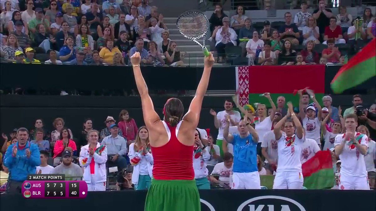 Battle complete!  After 2 hours and 47 minutes, it's @SabalenkaA with victory for Belarus 75 57 63 over Sam Stosur.  #FedCup