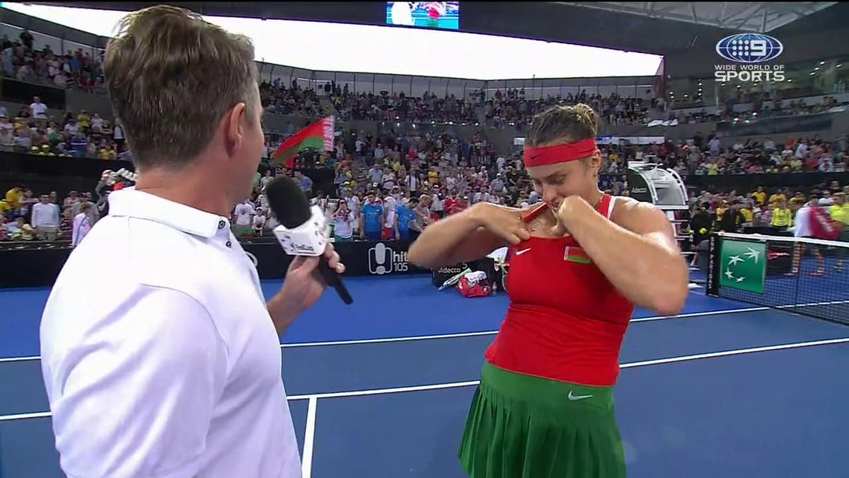 All class from Aryna 👏  Watch Australia take on Belarus in the #FedCup LIVE on @9Gem  #9WWOS #Tennis #AUSBLR