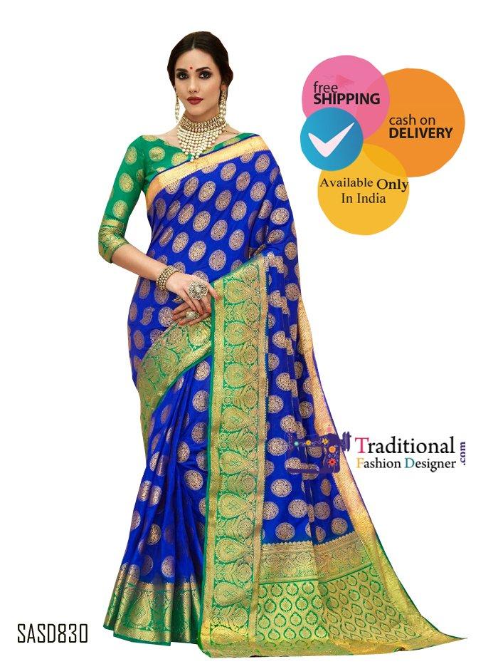 Royal Blue Color Banarsi Silk Saree. #Bollywood #Actress #Saree #Partywear #Traditionalwear #Fashion #Designewear #Wedding #BridalWear #Stylish #Indianlook