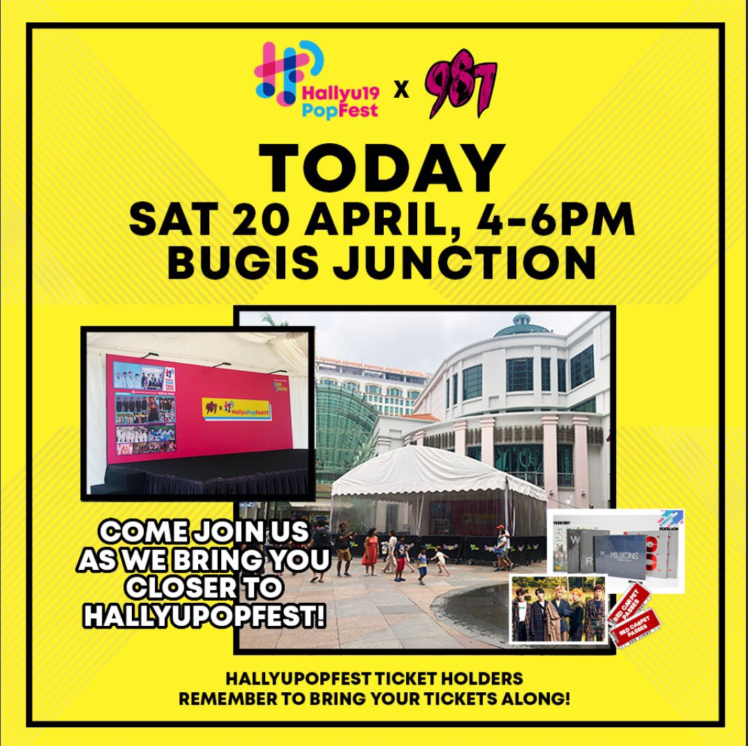 ARE YOU READY FOR HPFx987 HAPPENING TODAY? 🎉✨ Join us at Bugis Junction, 4-6PM, Attractive prizes to be won! #HallyuPopFest2019 Ticket Holders, bring your tickets along and stand a chance to win Red Carpet Passes and a chance to get <UP CLOSE WITH A.C.E> on 27th April! 😉