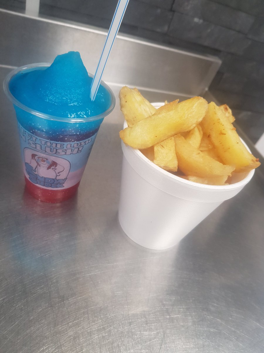 A beautiful day for a walk in the sunshine with a chip bucket, and a slushie! #snowshock #slushie #chips #cone #fishandchips #paolos #Carlisle #cumbria