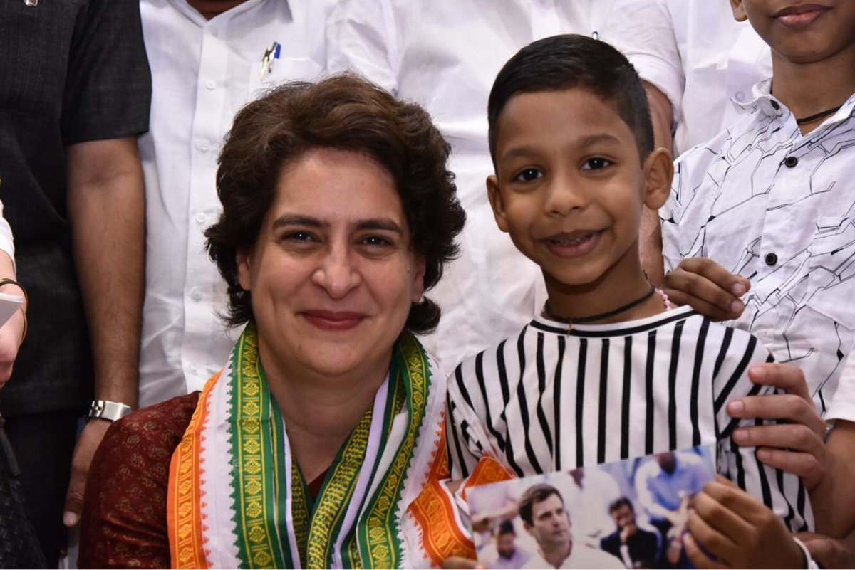 7 year old Nathan couldn't meet CP @RahulGandhi when he was in Wayanad. So Rahul ji spoke to him over phone. Today, @priyankagandhi ji had a special meeting with him.  #PriyankaGandhiInWayanad