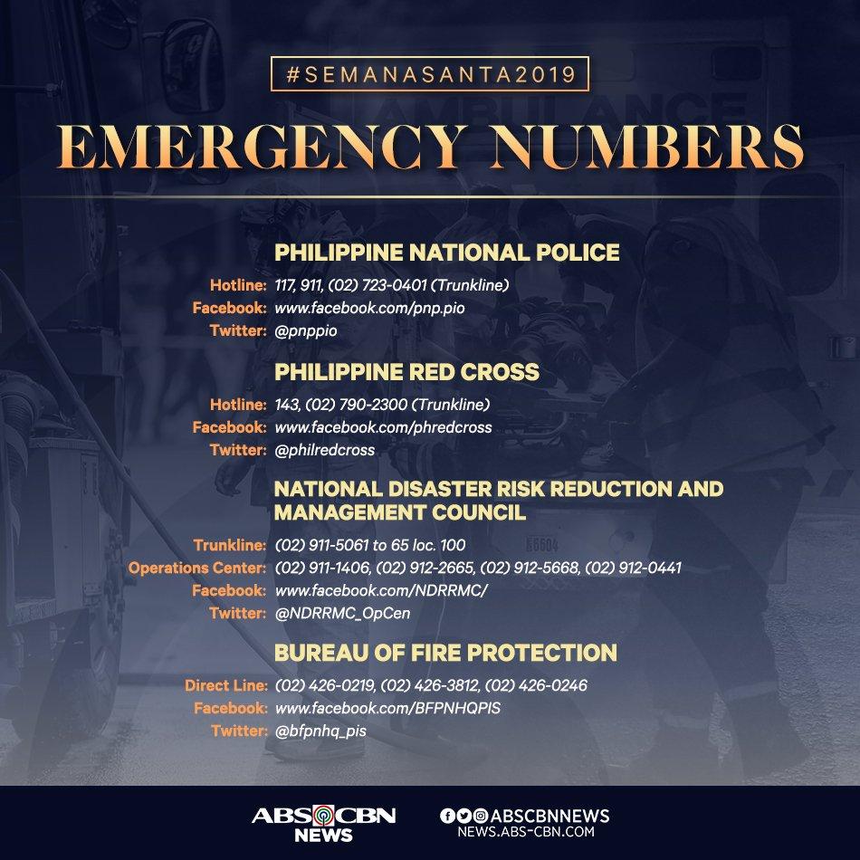 Kapamilya, itabi ang mga numerong ito sakaling magkaroon ng emergency. #SemanaSanta2019