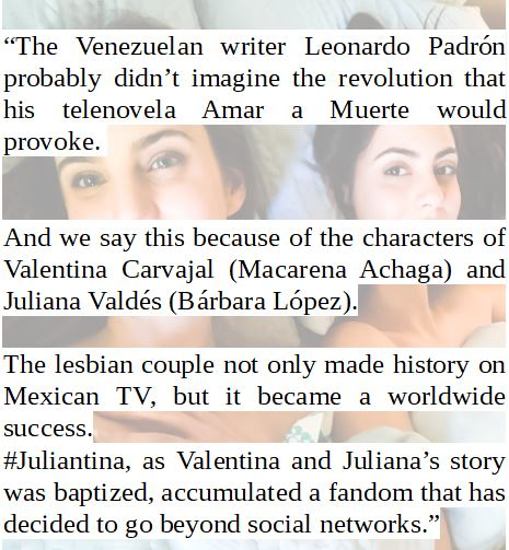 TRANSLATION: E! ONLINE  Short article of E! Online about Juliantina. The video that was posted with this article is what @ItGetsBetter wrote on their article.  We already translated it, translation down below this post.  E! ONLINE LINK:  https://www. eonline.com/co/news/103378 9/fandom-de-juliantina-organizo-una-accion-historica &nbsp; … <br>http://pic.twitter.com/gg1rSeCn9M