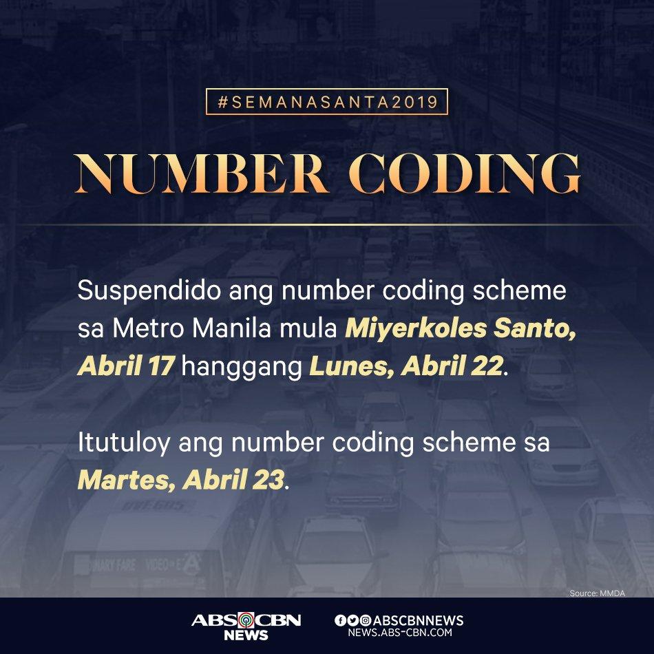 Paalala, Kapamilya: hanggang sa Lunes, Abril 22 lang suspendido ang number coding scheme sa Metro Manila. #SemanaSanta2019