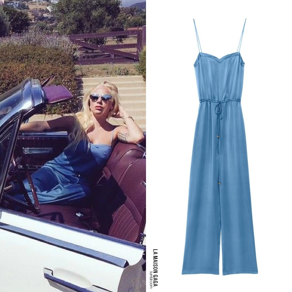 """Back in Time: @ladygaga wore this #AndOtherStories x @rachaelantonoff lustrous silk jumpsuit paired with the @lespecs """"The Heiress"""" metal sunglasses. MORE INFO > http://lamaisongaga.tumblr.com/post/159088209572/2015-instagram-fashion-roundup-part-v-the…pic.twitter.com/GYbs9rZQnH"""