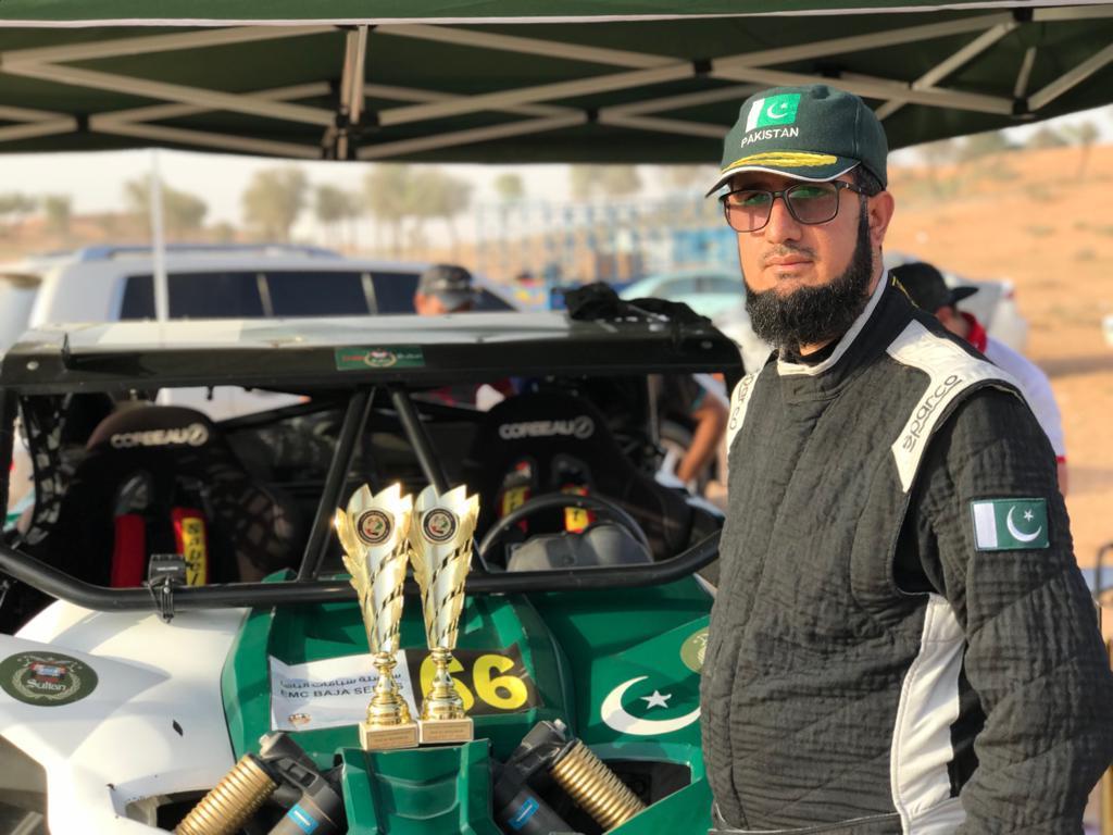 Sahibzada Sultan first Pakistani international offroad racer #SahibzadaSultan has made history.The first #international off-road trophy won for #Pakistan 118 km #racing on 3 shocks. Sahibzada Sultan&#39;s second position at #UAE Rally.  #TeamSultanBaja2019<br>http://pic.twitter.com/vpuWOLopAx