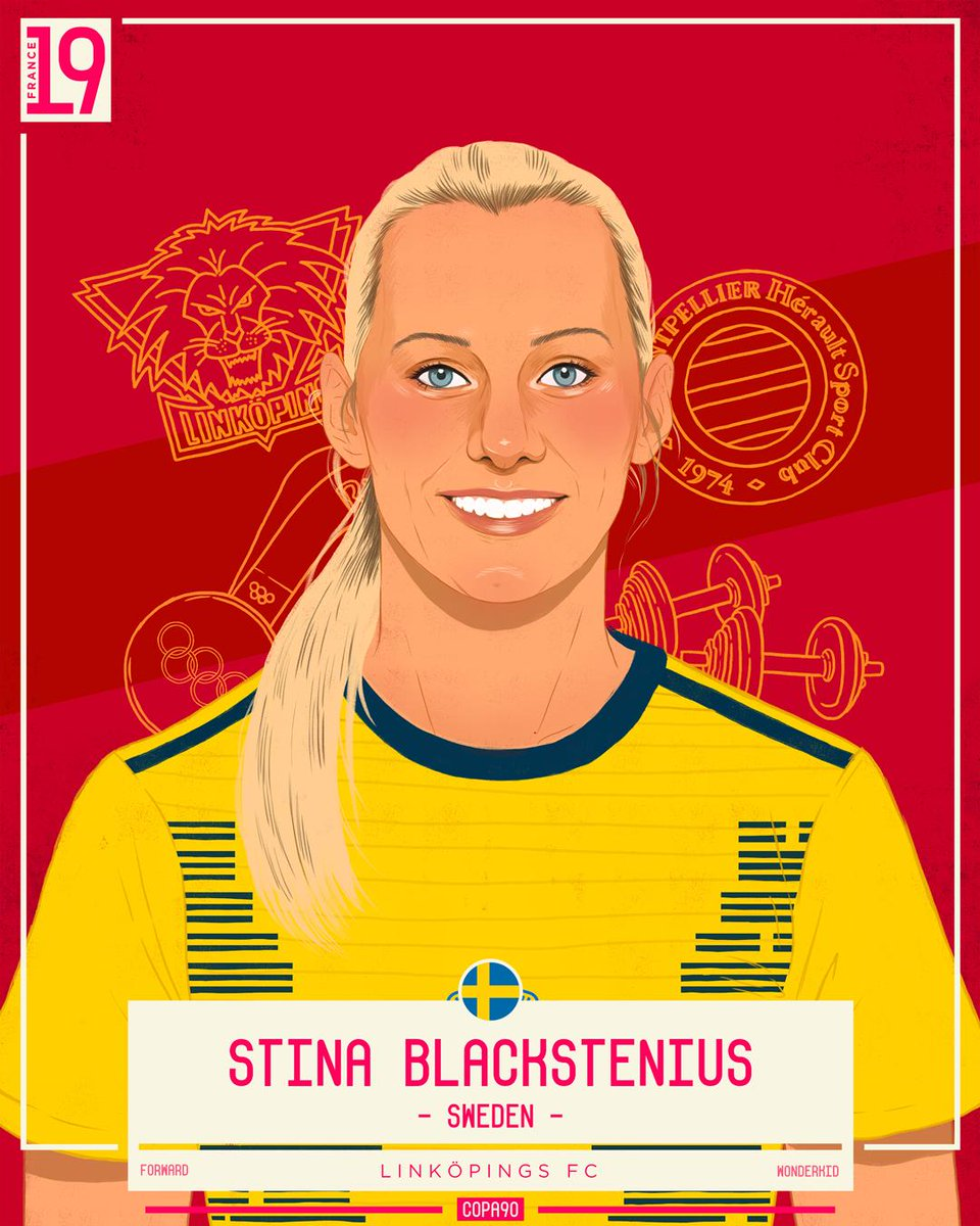 👊 A natural born finisher, Stina Blackstenius fired Sweden to glory at the 2015 U19 Women's Euros, finishing the tournament as top goalscorer.   Strong and powerful on the pitch, she'll be looking to net her first ever World Cup goals this Summer.   #COPA90Icons